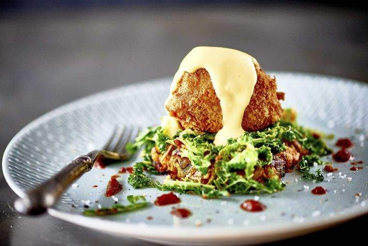 Spiced vegetale rosti, wilted savoy, crispy duck egg & brown butter hollandaise