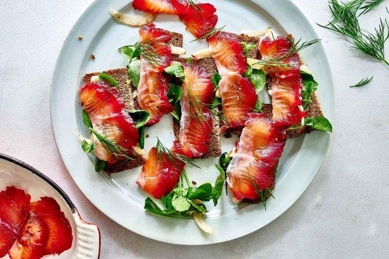 Beetroot & gin-cured salmon