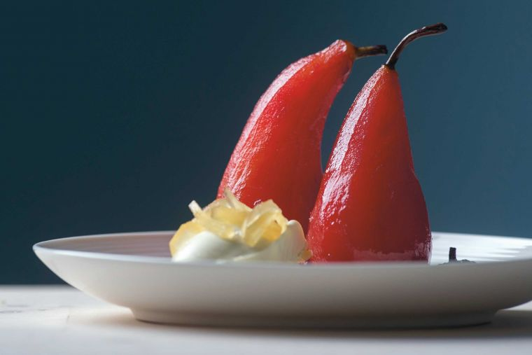 Blushed pears with ginger clotted cream