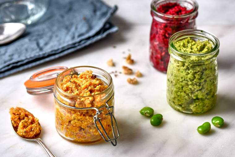 Carrot, chilli & pine nut pesto