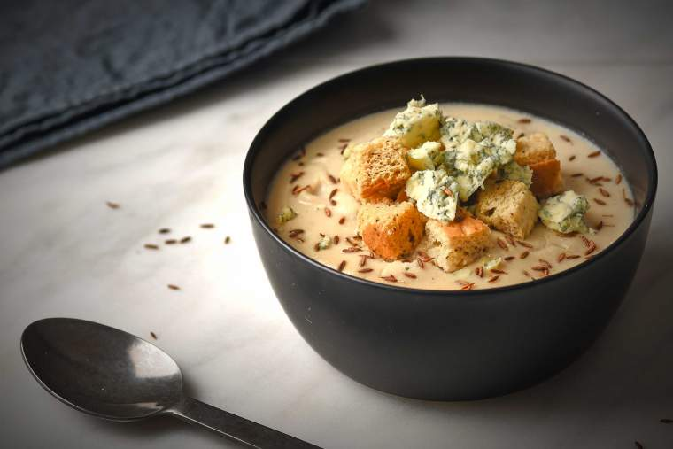 Cauliflower, celeriac & almond soup recipe