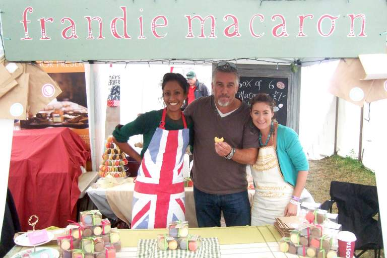 Francesca Gigg and Andie Stanstell with Paul Hollywood, Frandie Macaron