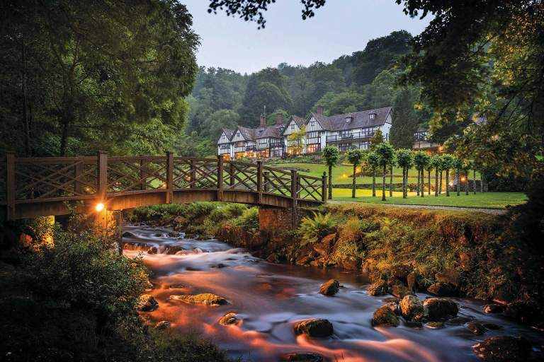 Gidleigh Park, view from river to hotel