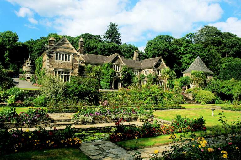 Exterior and gardens of Lewtrenchard Manor
