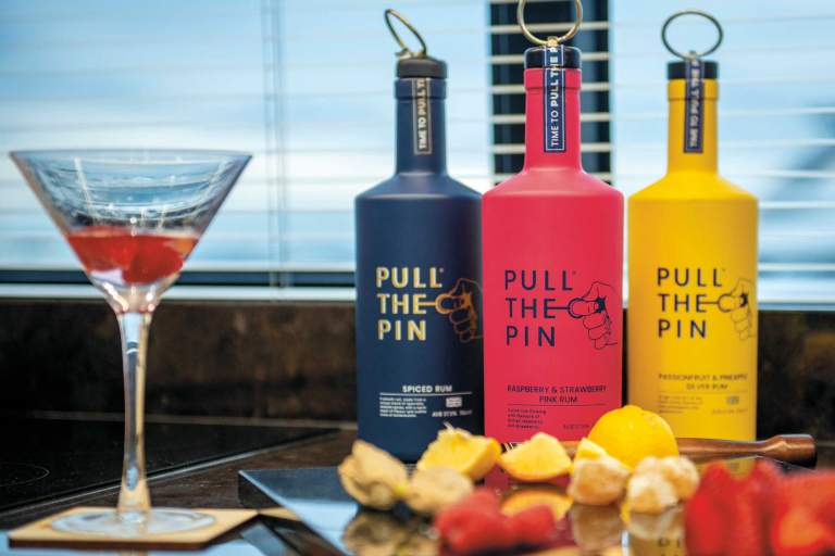 3 bottles of Pull the Pin rum.