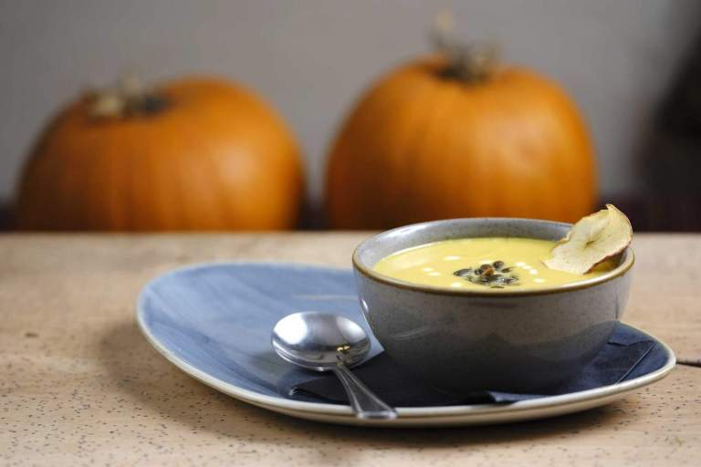 Pumpkin Soup. Served on the lunch menu at the Royal Oak in Meavy, Devon