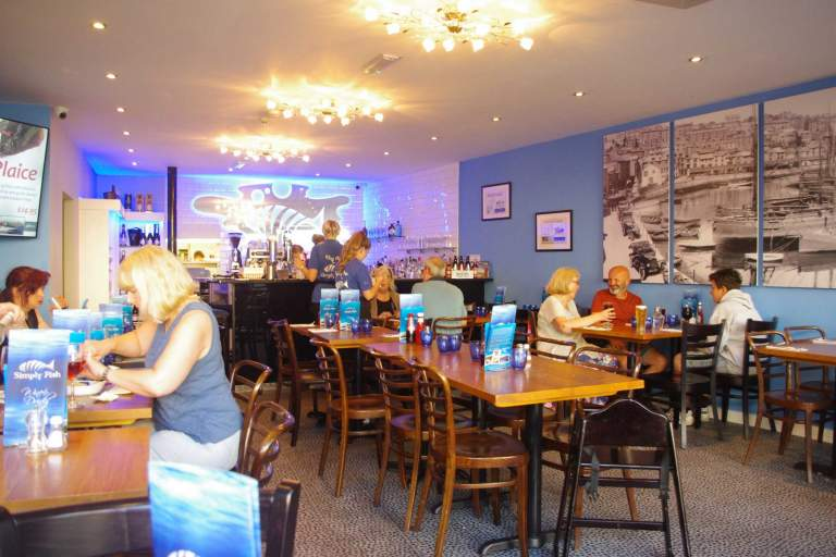 Inside Simply Fish restaurant in Brixham