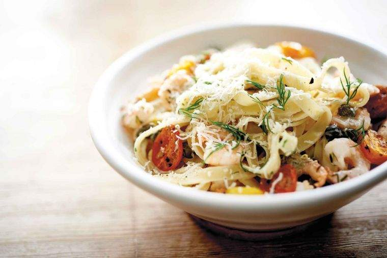 Tagliatelle with prawns, roast cherry tomatoes, lemon, dill and crème fraîche